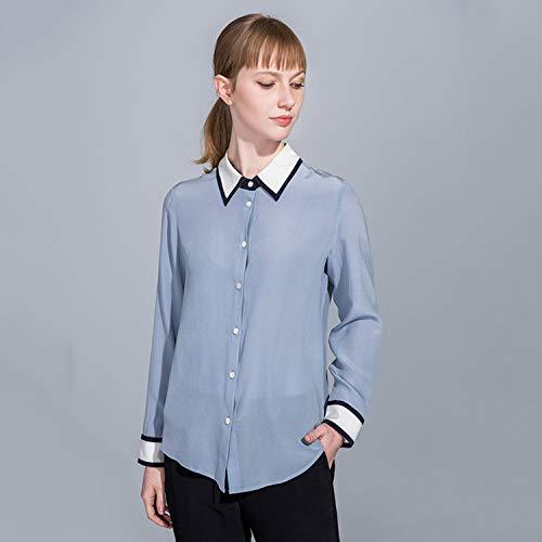 Abbigliamento A Donna Chiffon Maniche Bavero Polo Aibab Seta Da Slim Fit Camicia Di Lunghe Maglia Camicetta qfnBxw16A
