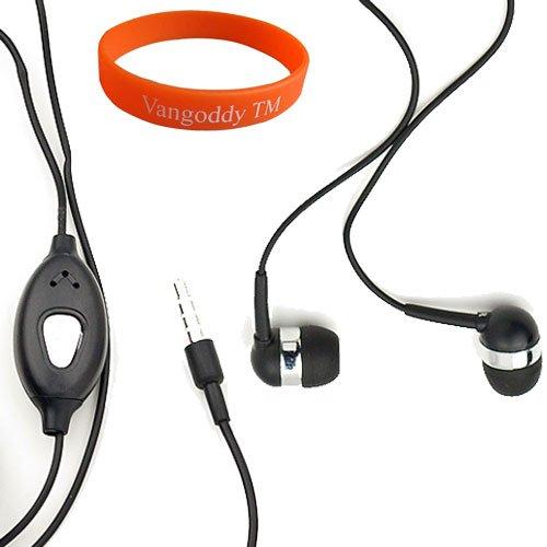 ノイズ低減 (ブラック) イヤホン マイクとオレンジのVangoddyリストバンド Sony Xperia Sola スマートフォン用 ! B0084IVG7Q