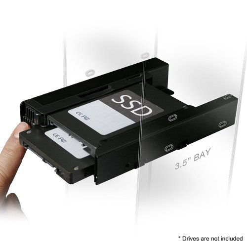 UPC 884826001638, ICY DOCK EZ-FIT MB082SP PRO 2 x 2.5 Inch to 3.5 Inch Drive Bay SATA SSD/HDD Mounting Kit / Bracket / Adapter