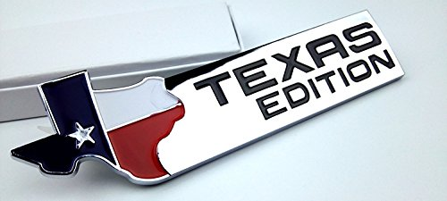 (3D Silver Texas Edition Rear Emblem Badge Decal Sticker for Chevrolet Chevy Silverado and GMC Sierra Car Styles Accessories 1 piece)