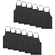 TSD STORY Total 12 PCS Plain Color Bib Apron Adult with 2 Front Pocket (Black)