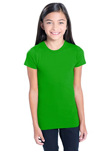LAT Apparel Girls 100% Cotton Fine Jersey Tee with Ribbed Collar [Large] Apple Green T-Shirt (Large Apple Green)