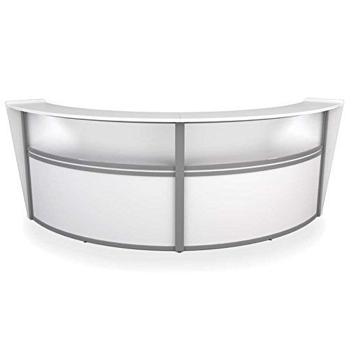 Bowery Hill Plexi Double Unit Curved Reception Station in White