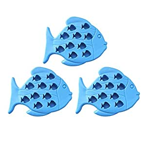 Riverbyland Silicone Fish Shape Ice Cube Trays Assorted Colors Set of 3