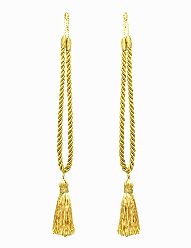Home Queen Decorative Tassel Rope Tie Backs for Window Curtain, Hand Knitting Buckle Cord Drapery Holdbacks, Set of 2, Gold (Decorative Tie Back Tassel)