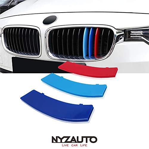 NYZAUTO M-Colored Stripe Grille Insert Trims for 2013-2019 BMW F30 3 Series 316i 318i 320i 328d 328i 335i 340i Kidney Grill (11 Beams, Not Fit 8 Beams) ()