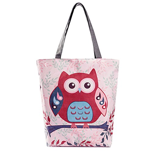 LA HAUTE Canvas Tote Bags Lovely Owl Print Summer Beach Handbags Shoulder Bags Large Shopping Bags Color5