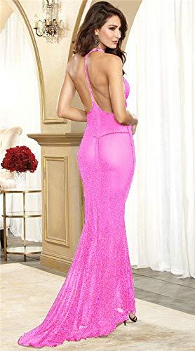BranXin - Halloween Sexy Lingerie hot Erotic Underwear Hanging Neck Sexy Costumes Tulle Mermaid Princess Transparent Long sexo Dress [Pink ] -