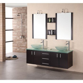 Design Element Portland [Glass] (double) 60-Inch Espresso Modern Wall-Mount Bathroom Vanity Set (Contemporary Bathroom Furniture)