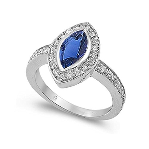 Sterling Silver Simulated Blue Sapphire & Cubic Zirconia Marquise Cut Elegant Ring, 14mm