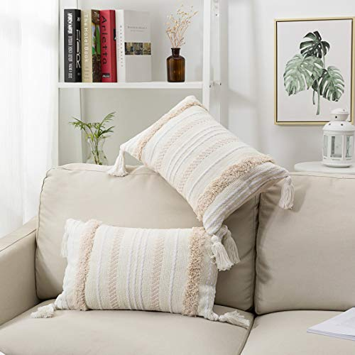 blue page 2 Packs Boho Tufted Decorative Lumbar Cushion Cover with Invisible Zipper, Excellent Texture Oblong Throw Pillow Cover, Accent Pillows Case for Sofa Bed (12X20 inch, Cream)