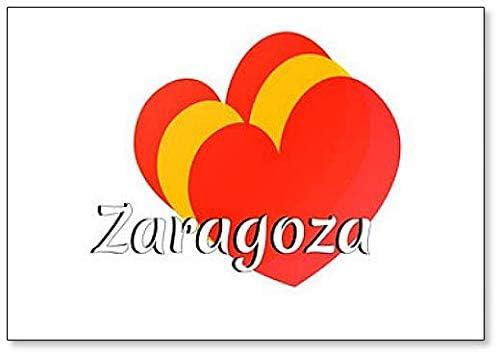Imán para nevera con forma de corazón con los colores de la bandera nacional de España con inscripción en inglés