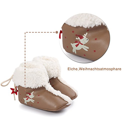 Sibba Chaussures bébé de Noël bottes bébé avec semelles antidérapantes pour bébé filles et bébé garçons (0-18 mois)Toddler