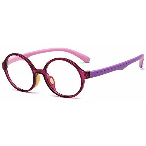 138 Eyeglasses - Fantia Children's Glasses Frame Round Tr90 Silicone Eyeglasses Clear Lens (C4)
