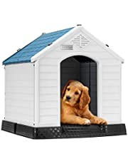 """DEStar Durable Waterproof Plastic Pet Dog House Indoor Outdoor Puppy Shelter Kennel with Air Vents and Elevated Floor (Medium - 28"""" Height)"""