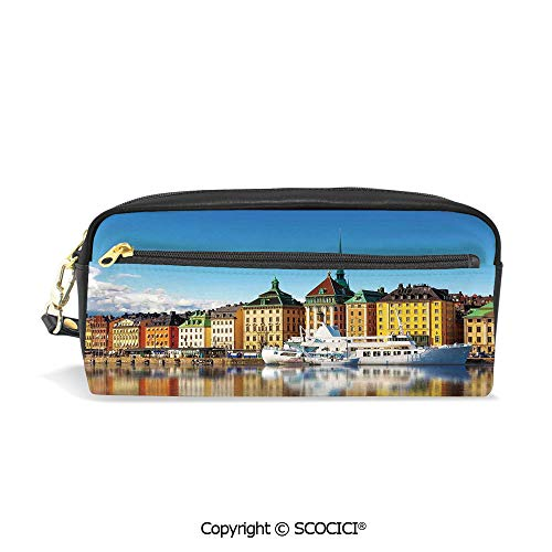 Stockholm Desk Phone - Printed Pencil Case Large Capacity Pen Bag Makeup Bag Summer Panorama of The Gamla Stan in Stockholm Sweden Yacht Ship by The Port Ocean for School Office Work College Travel