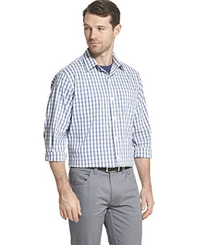 Van Heusen Men's Traveler Non-Iron Plaid Button Down Shirt, Legacy Bright White, X-Large ()