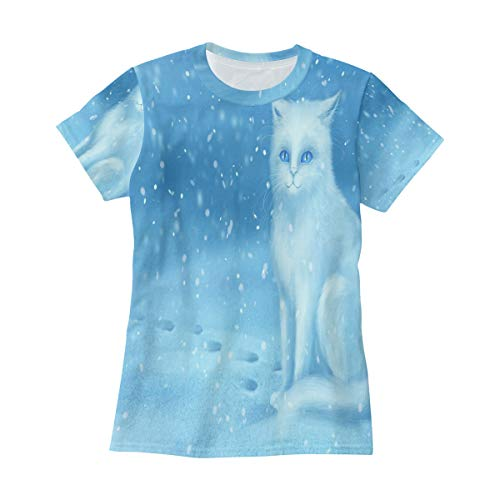 Cats in Winter T Shirts for Women Top Tee Crew Neck Classic ()