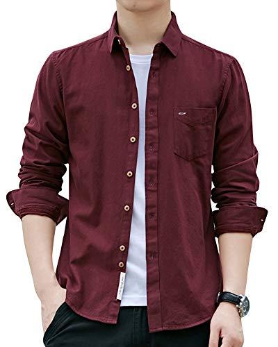 Fit Tasca Con Uomo Camicia Lunghe Grandi Unita Tinta Libero Tempo Slim Rosso Maniche Di Camicie Dimensioni OqwranqI6