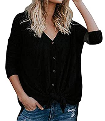 Womens Waffle Knit Tunic Blouse Tie Knot Henley Tops Loose Casual Fitting Bat Wing Plain Shirts Black S