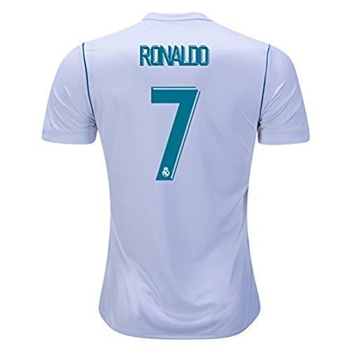 DumeStim 17/18 New Real Madrid Home Ronaldo 7 Soccer Jersey Men's White Size S