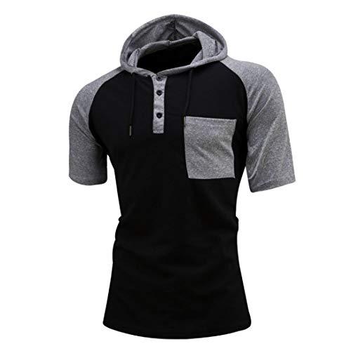 SPE969 Raglan Hoodie Men's Casual T-Shirts Short Sleeve Tee Tops - Mm Short Sleeves Knit