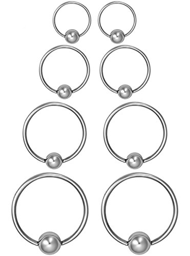 Forbidden Body Jewelry 8-Pack of Every-Day Piercing Rings: 18g 6/8/10/12mm Surgical Steel Captive Bead Hoop Rings Pairs