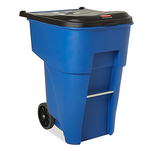 Rubbermaid Commercial Products BRUTE Rollout Waste/Utility Container, 95-gallon, Blue (FG9W2273BLUE) (Container Waste Out)