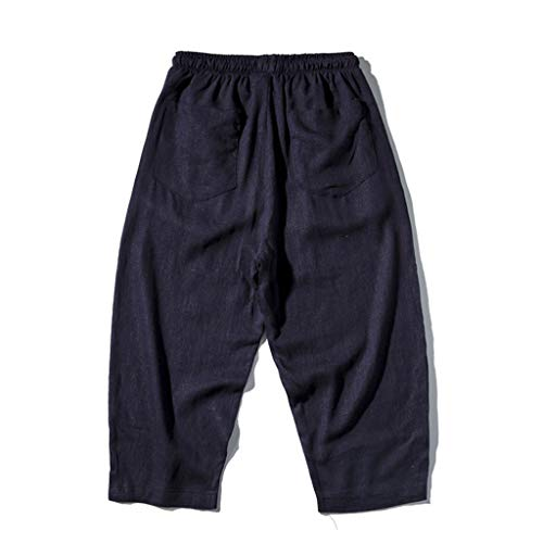 Sunmoot Clearance Sale Harem Linen Pants for Men Plus Size Casual Drawstring Beach Shorts Pant Loose Cropped Trousers Navy