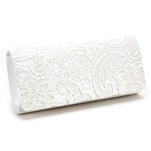Luxus Spitze Damen Clutch Abendtasche Damentasche Handtasche Brauttasche mit Kette (weiss)