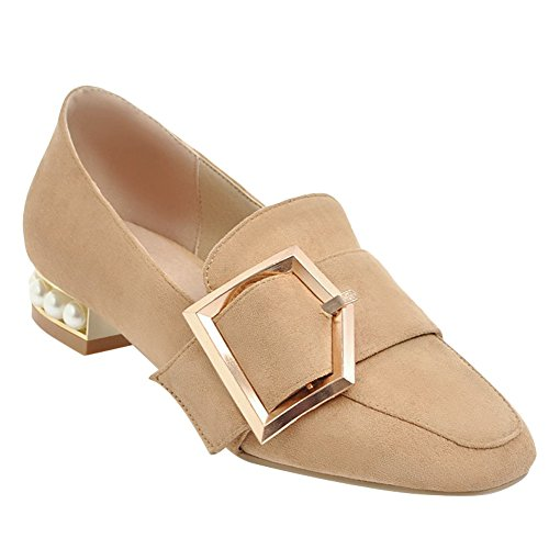 Charm Foot Womens Comfort Casual Low Heel Loafers Shoes Apricot 4Ysxwb6Xu