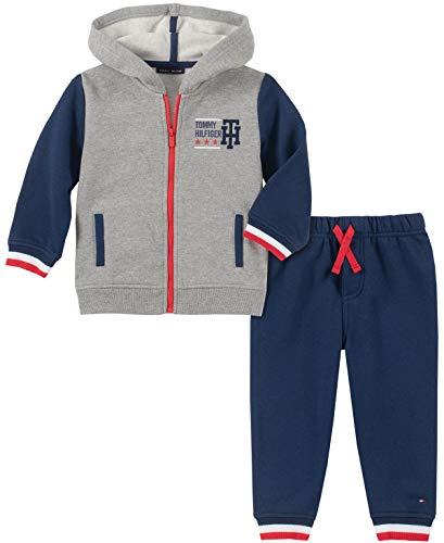 Tommy Hilfiger Baby Boys 2 Pieces Hooded Jog Set, Heather Gray/Navy, 3-6 Months