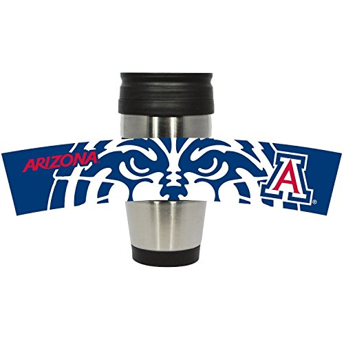 NCAA Officially Licensed Arizona Wildcats 15 oz Stainless Steel 3-D Wrapped Logo Travel Mug