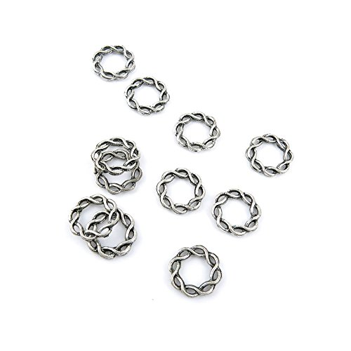 (50 Pieces Antique Silver Tone Jewelry Making Charms 44998 Twisted Circle Pendant Ancient Findings Craft Supplies Bulk Lots)