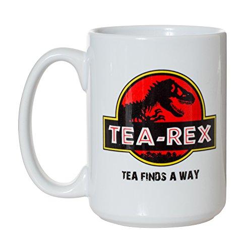 Tea Rex Tea Finds A Way Jurassic Park Parody Funny Mug - 15oz Deluxe Double-Sided Coffee Tea Mug ()