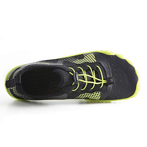 Water Shoes for Men Quick-Dry Aqua Sock Outdoor Athletic Sport Shoes for Kayaking,Boating,Hiking,Surfing,Walking (A-Black/Green, 43) by WateLves (Image #4)