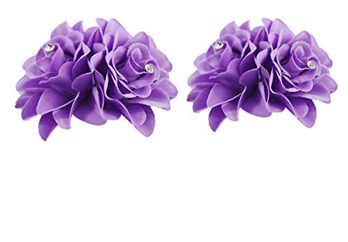 (DreamLily Women's Girl Bridal Lily crystal Hair Flower Clip Barrette for Wedding Party (2 Pack of Purple))