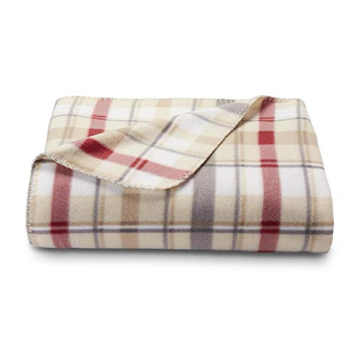 (Colormate Fleece Throw Blanket, 50-inch by 60-inch (Tan/Neutral Plaid))