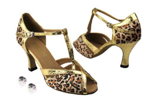 Veldig Fine Damer Kvinner Ballroom Dans Sko Ek2707 Med Tre Hæl Leopard  Sateng Og Ultra Gull