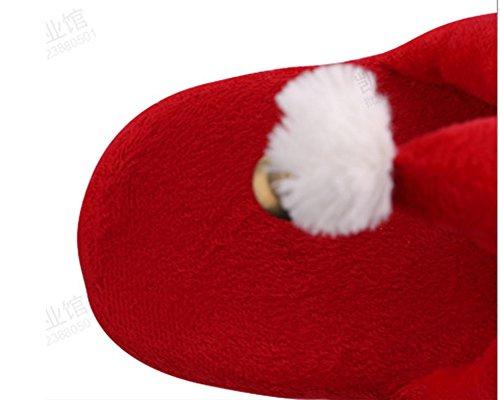 Coton Pantoufles Noël Yonglan en Pantoufles dessinée Femme Flat coton de Chaussons Rouge bande Pantoufles Père Intérieur épaisses xUUgEwSq