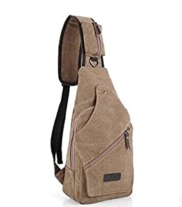 FAB Men's Canvas Body Chest Bag Pack Hiking Cycling Bicycle Backpack (B)