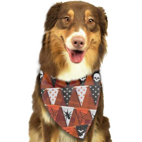 Rongx Pet Dog Bandana Scarf Pack Triangle Bibs Halloween Bunting Reversible Plaid Printing Kerchief Set Accessories for Small to Large Dogs Cats Pets]()