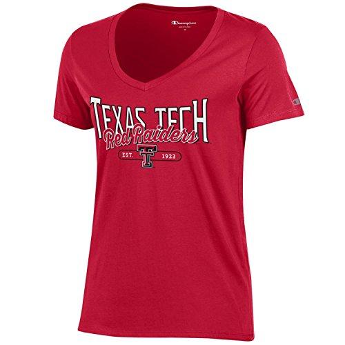 Champion NCAA Women's University Short Sleeve Tagless Lady's V-Neck Tee, Texas Tech Red Raiders, Medium