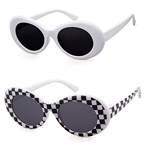 Bold Retro Oval Mod Thick Frame Sunglasses Clout Goggles with Round Lens (White&Grid, 51) -