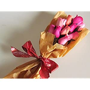 Pink Roses Bouquet One Dozen Artificial Scented Wood Flowers With Refresher Spray In A Box 100