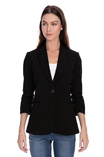 XOXO Ladies Apparel Junior's XOXO Women's 3/4 Sleeve Single Button Ruched Blazer, Caviar, (Quarter Sleeve Blazer)