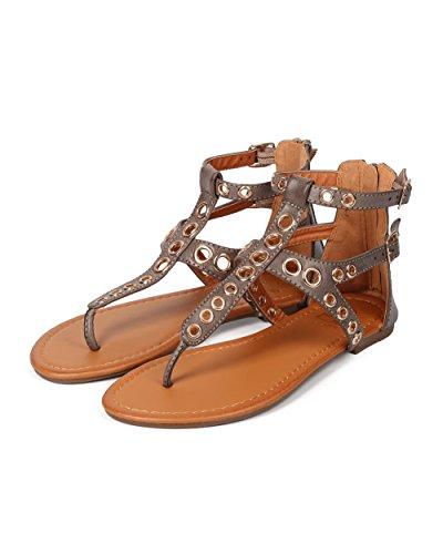 Betani Ek30 Kvinnor Läder Föring Spänne Gladiator T-strap Sandal - Taupe