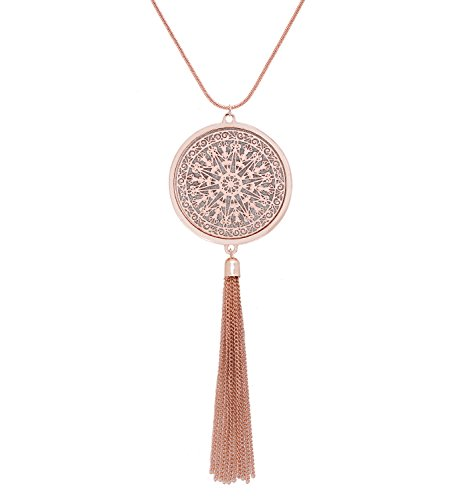 Copper Tone Chain - MOLOCH Long Necklaces for Woman Disk Circle Pendant Necklaces Tassel Fringe Necklace Set Statement Pendant (Rose Gold)