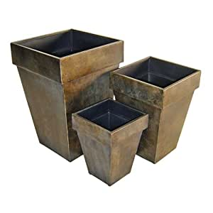 Cheungs Home Indoor Outdoor Decorative Accent Set of 3 Metal Square Tapered Planter