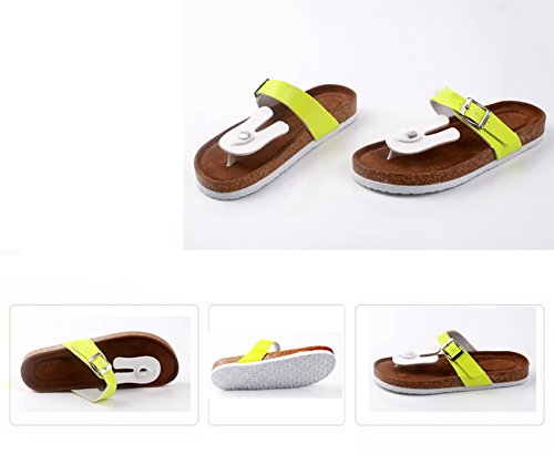 Mujer sandalias planas de la playa Zapatos Peep-dedo del pie Flip Flop Chanclas Chancletas 3